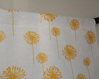 Yellow Dandelion Valance, Floral Yellow Valance, Dandelion Yellow/White Valance, Window Valance