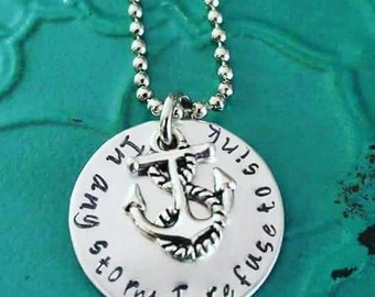In Any Storm I Refuse to Sink Inspirational Necklace