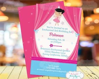 FREE SHIPPING Fairy Birthday Party Invitation - Fairy Princess Birthday Party Invitation