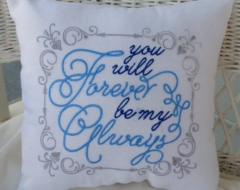White Burlap wedding pillow - Romantic bed pillow - Embroidered Pillow  - Forever be my Always - gift for her - Wedding gift - Burlap pillow