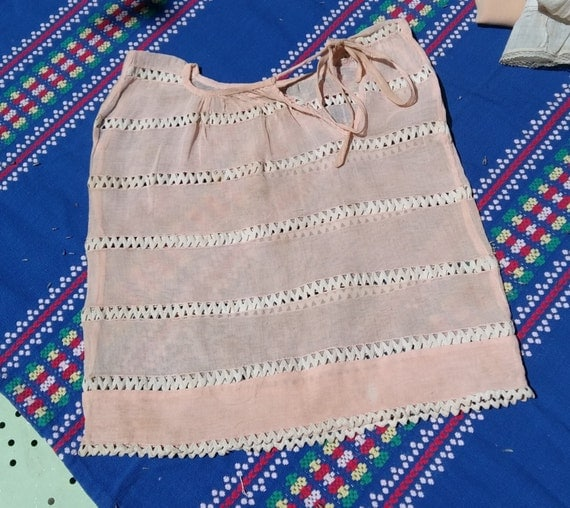 Edwardian Pink Cotton Baby Dress with White Picot Inlays French Collectible Doll Costume #SophieLadyDeParis