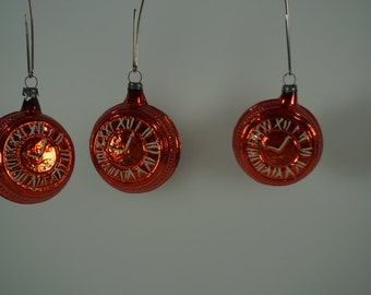 Vintage Christmas Ornaments, Lot of 3, Orange CLOCKS, OLD Glass Christmas Ornaments, Embossed  FREE 1st Class Shipping