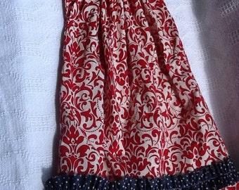 Patriotic red white blue bandana dress, toddler 2-5, pillowcase dress, top