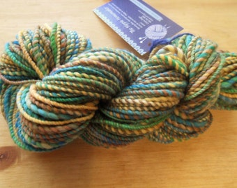 "Rough Handspun Aran Weight Yarn- ""Medow"" 67 yards"