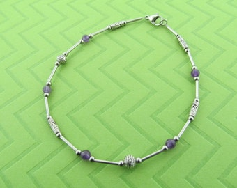 stainless steel and amethyst anklet. avail in 9.5 and 10.5 inches