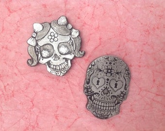 Two Sugar Skull Day of the Dead magnets