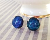 Dichroic Glass Stud Earrings, Fused Dichroic Glass, Blue Teal Fused Glass, Sterling Silver Posts