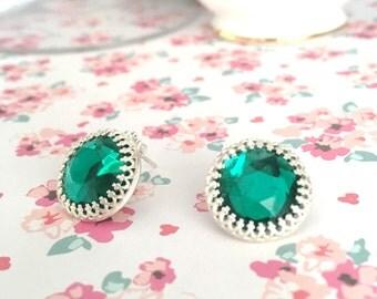 Green Stud Earring | Emerald Green Earrings | Green Glass Earrings | Large Green Studs | May Birthstone Earring | Oversized Stud Earring