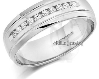 18K  White Gold Handmade Wedding Band Ring with Diamonds 7MM Wide  Sizes 4-12  Free Engraving  New