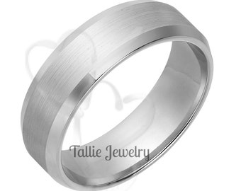 Mens 14K White Gold Wedding Bands,Womens Wedding Rings,Mens Wedding Rings,Matching Wedding Bands
