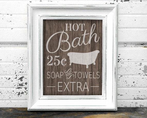 Bathroom Sign // Instant Download 8x10 Printable Wooden Rustic