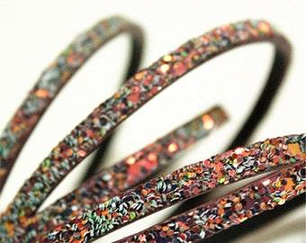 5x2mm Wine AB Glitter Flat Leather Cord,1pcs Bracelet Cord, 1pcs(1.25yards)
