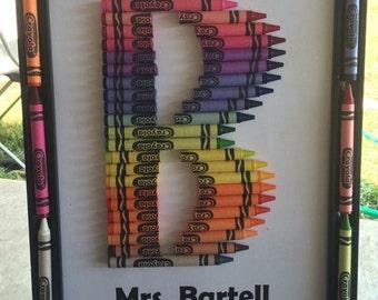 crayon letter frame