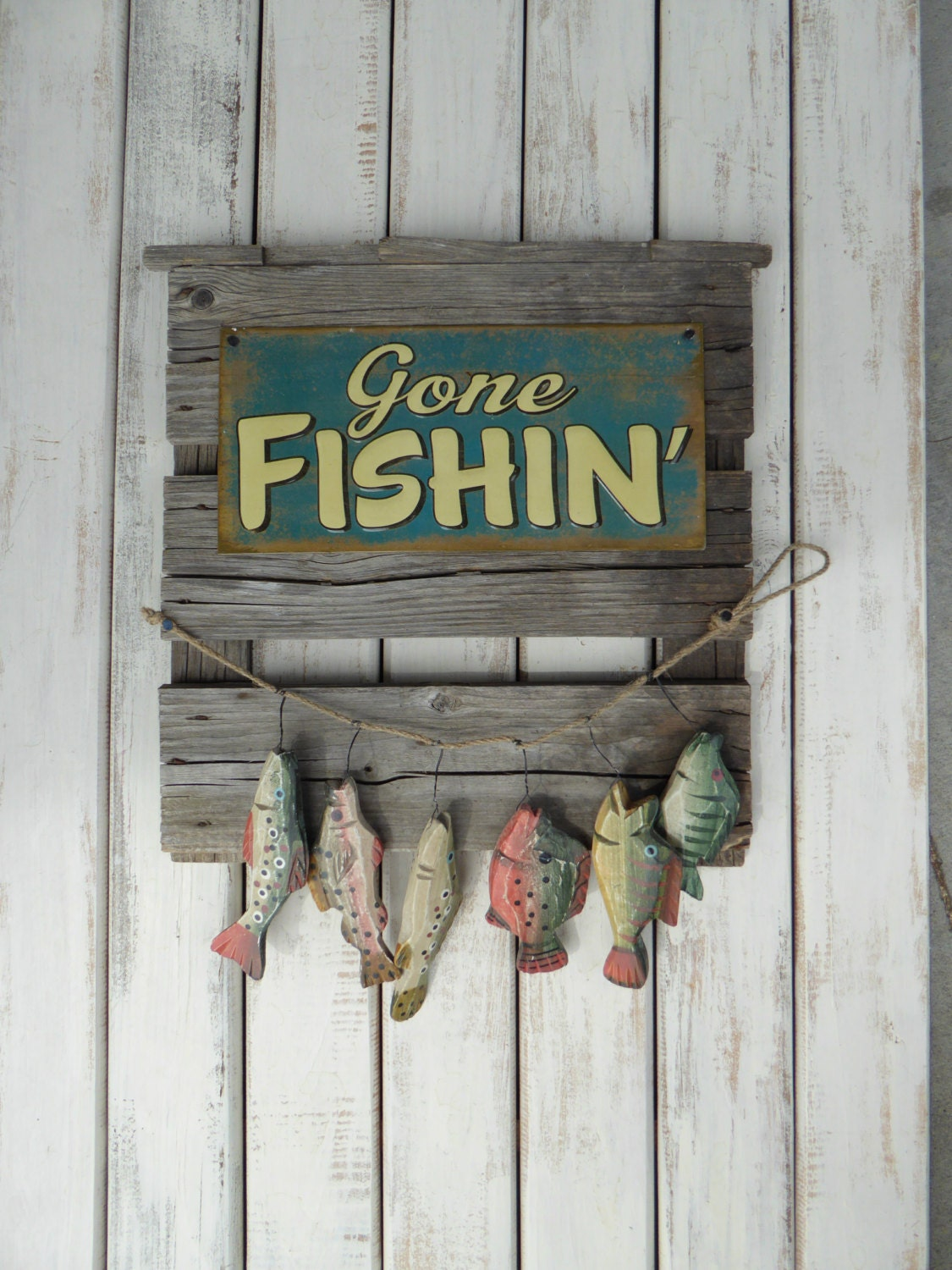 GONE FISHING Sign Reclaimed Weathered Wood Sign Wall Hanging