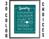 """The Laundry Guide - Guide to Laundry Care Symbols - Laundry Room Art - 30 COLOR CHOICES - 8""""x10"""" Printable Art"""