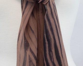 Silk Shibori Scarf, Chiffon Arashi Shibori in Brown and Black, OOAK