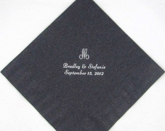 50 Personalized monogram luncheon napkins wedding favors bridal shower baby shower custom printed dinner napkins