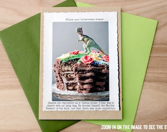 Witty Trex Greeting Card • Card for Cake Lovers • Card for Baker • Funny T-Rex Card • Witty All Occasion Card • Dinosaur Card • Animal Tales