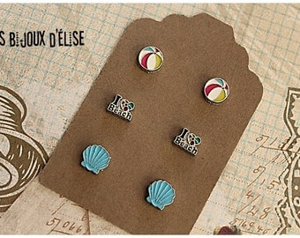 3 Pairs of Beach Post Earrings Stud Earrings sets LOve Beach, Starfish, Ball Beach, Wave, Sun
