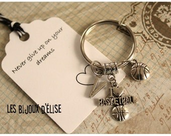 Personalized I love Basketball Keychain Sport Keychain Antique Silver
