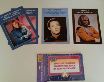 Vintage Star Trek Cards Birthday Invitations 1990's Star Trek Party Favors Comic Con Accessories Warf Data Trekkies Gear Collectible