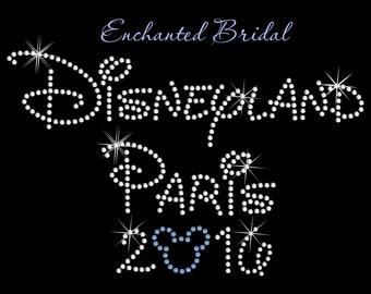 Disney Inspired Disney Paris 2016 Rhinestone Transfer DIY Wedding Bling Disney Trip Destination Wedding Iron On