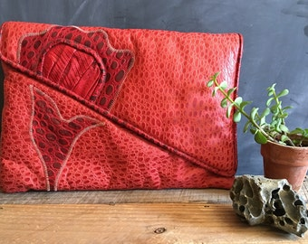 1980's Oversized Patchwork Red Leather Clutch Purse