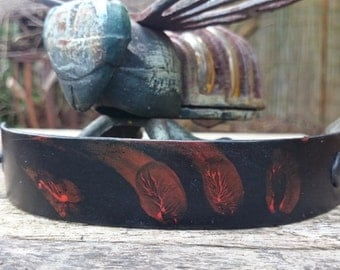 Bloodied Prints Leather Cuff
