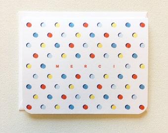 Modern Thank You Card, Merci, Modern Greeting Card, Polka Dots