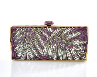 Swarovski ELEMENTS Patterned Minaudiere Bamboo Leaf Purple Mauve & Silver Shade Crystal Metal rectangle clutch bag