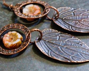 Long Drop Earrings, Bohemian Earrings, Drop dangle Earrings, Rose Copper Earrings, Flower Earrings, Copper Leaf Earrings, Flush Pink flowers