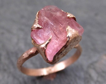 Raw Rough Pink Topaz 14k rose Gold Ring One Of a Kind Gemstone Ring Recycled gold byAngeline 0020