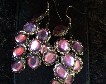 Purple dangle earrings 2-1/2 in