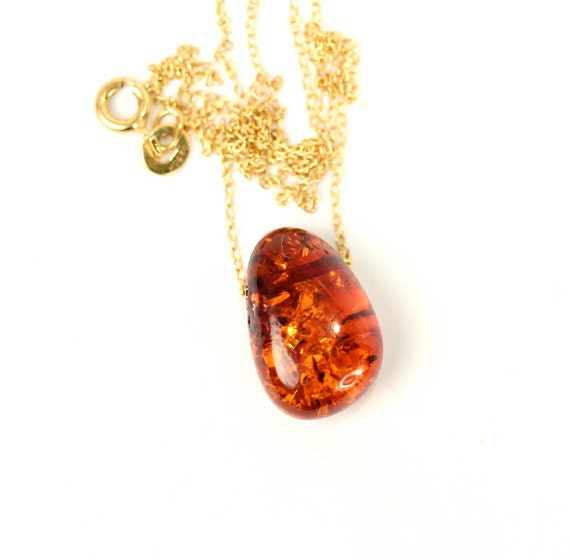 Amber necklace - baltic amber necklace - healing necklace - a wire wrapped drop of black baltic amber on a 14k gold vermeil chain
