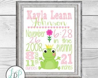 Fairytale Nursery Wall Art, Frog Birth Stats, Frog Birth Details Print, Fairytale Baby Gift, Baby Girl Gift, Fairytale Themed Nursery Art