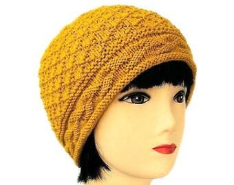 Mustard Beanie, Yellow Hat, Yellow Beanie, Mustard Hat, Yellow Knit Hat, Beanie Hat, Vegan Hat, Fashion Hat, Gifts for Her, Sue Maun