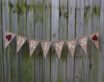 Burlap  Banner DRINKS Burlap Banner  Decor  Photo Prop Burlap Garland Rustic Engagment Bunting Custom Banner
