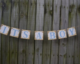 IT'S A BOY Banner Baby Shower - Baby Shower - Welcome baby Boy  Shower decor - Blue Baby Baby boy birth - Baby Announcement