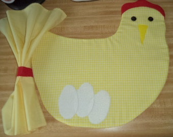 Set of 4 yellow gingham Chicken placemats with 4 16 inch napkins