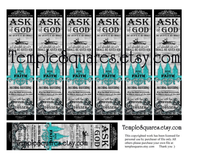 PRINTABLES Bookmarks 2 sizes LDS YW Young Women 2017 Theme Chalkboard style Ask of God Ask in Faith James 1: 5-6 Temple Art Collage
