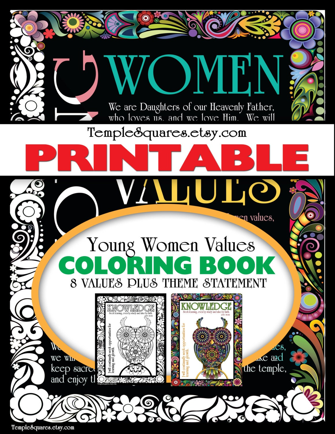 Printable Adult Coloring Book LDS YW Young Women Values