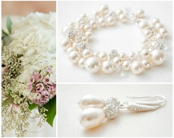 Bridal Jewelry SET, Pearl Bridal Jewellery SET, Bridal Wedding Jewelry SET, Bridal Earring and Bracelet Set