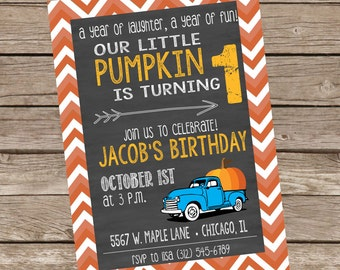 Our Little Pumpkin First Birthday Invite