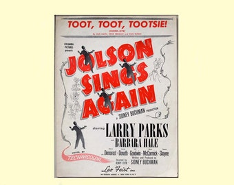 Original Vintage Sheet Music Toot, Toot, Tootsie Goodbye featured in the Columbia Pictures Movie Jolson Sings Again