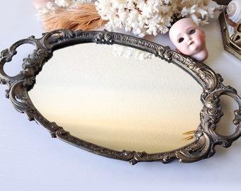 Vintage tray mirror ornate metal vanity display dresser mirror with handles