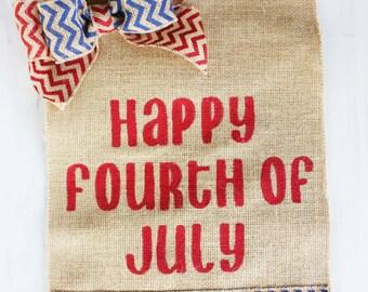 Happy Fourth Of July Burlap Yard Flag