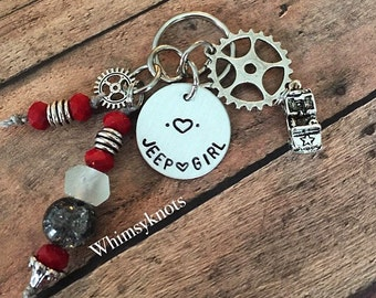 Jeep Girl keychain/ Jeep life/ Jeep love keyring--Custom Jeep accessories. Hand stamped.