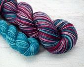 discounted Princess Tiger Lily heel/toe sock set - superwash merino/nylon sock yarn (463 yd skein w/matching 100 yd skein)