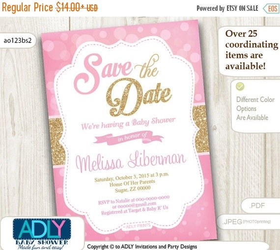 save the date invitation for baby shower bokeh pink and gold glitter