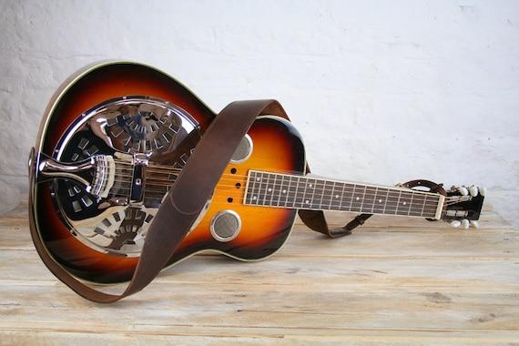 DS45 Leather Dobro Guitar Strap, 60mm width, Dobro strap, Traditional Dobro Strap, Dobro belt, slide guitar strap
